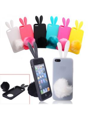 Силиконов калъф във формата на  сладко зайче с ушички и пухкава опашка за iPhone 5 -  цвят по - избор