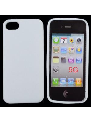 Силиконов калъф за iPhone 5 цвят бяло