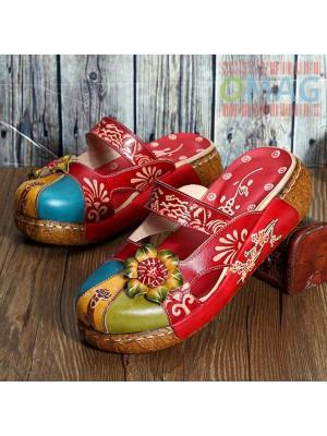 Дамски Цветни чехли SOCOFY - Red